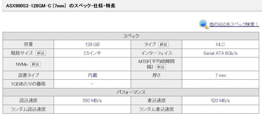 ADATA SX900スペック表