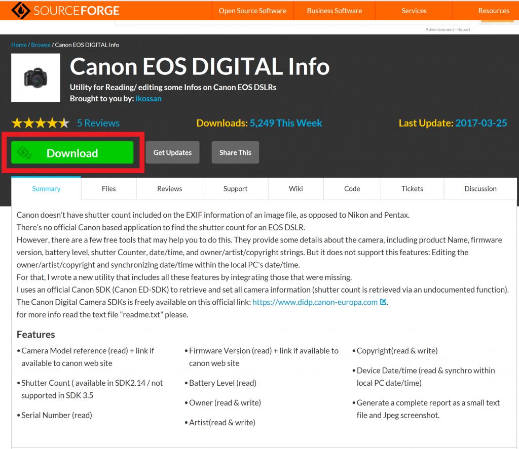 Canon EOS DIGITAL Info配布サイト