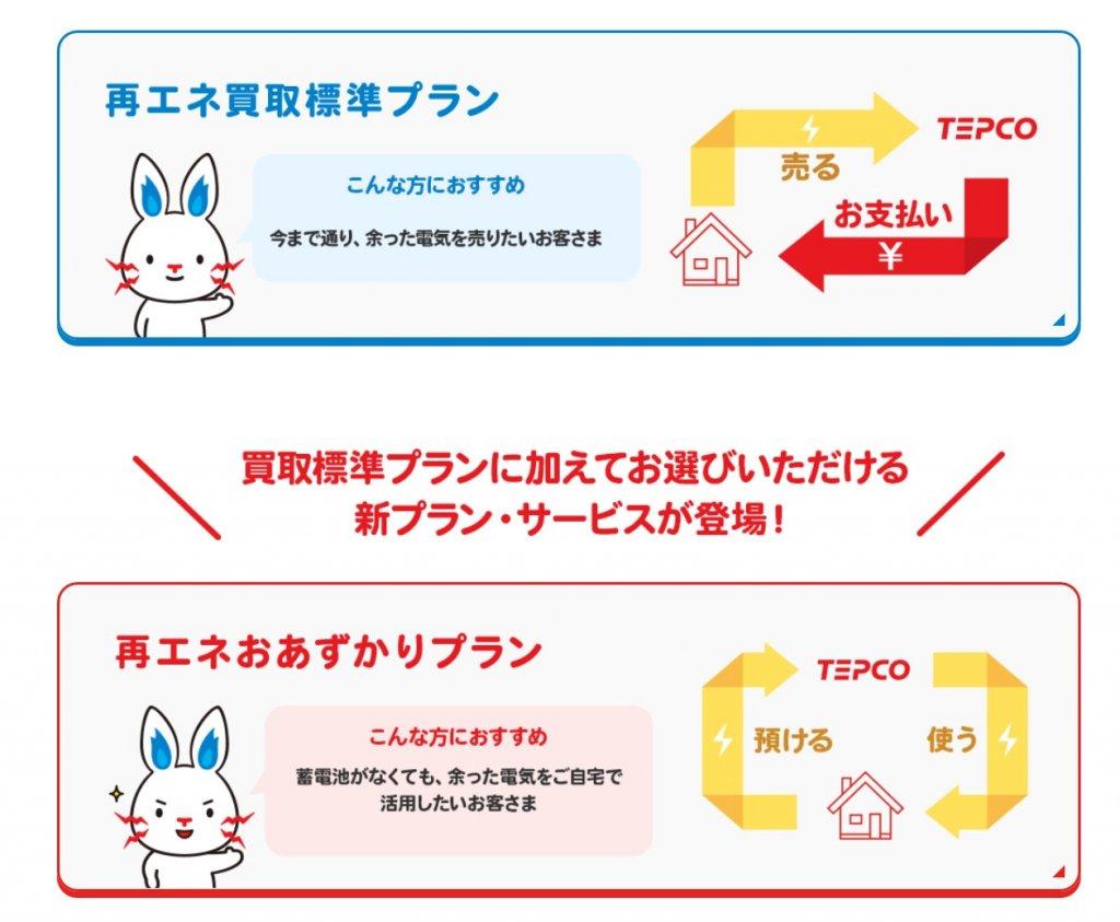 東京電力新プラン(買取プランと預かりプラン)