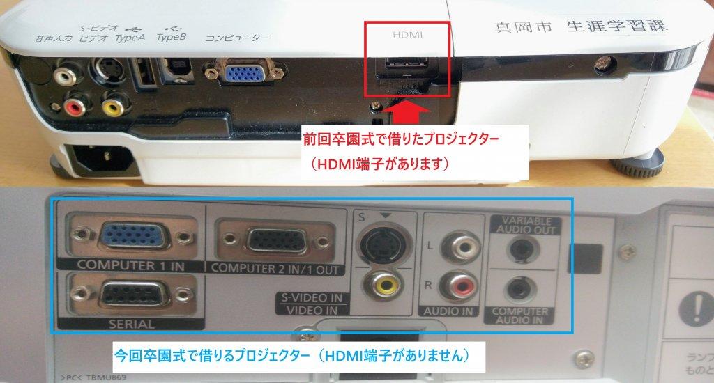 プロジェクターHDMI端子有り無し比較