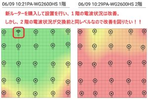 WG2600HP購入変更後1階&2階ヒートマップ