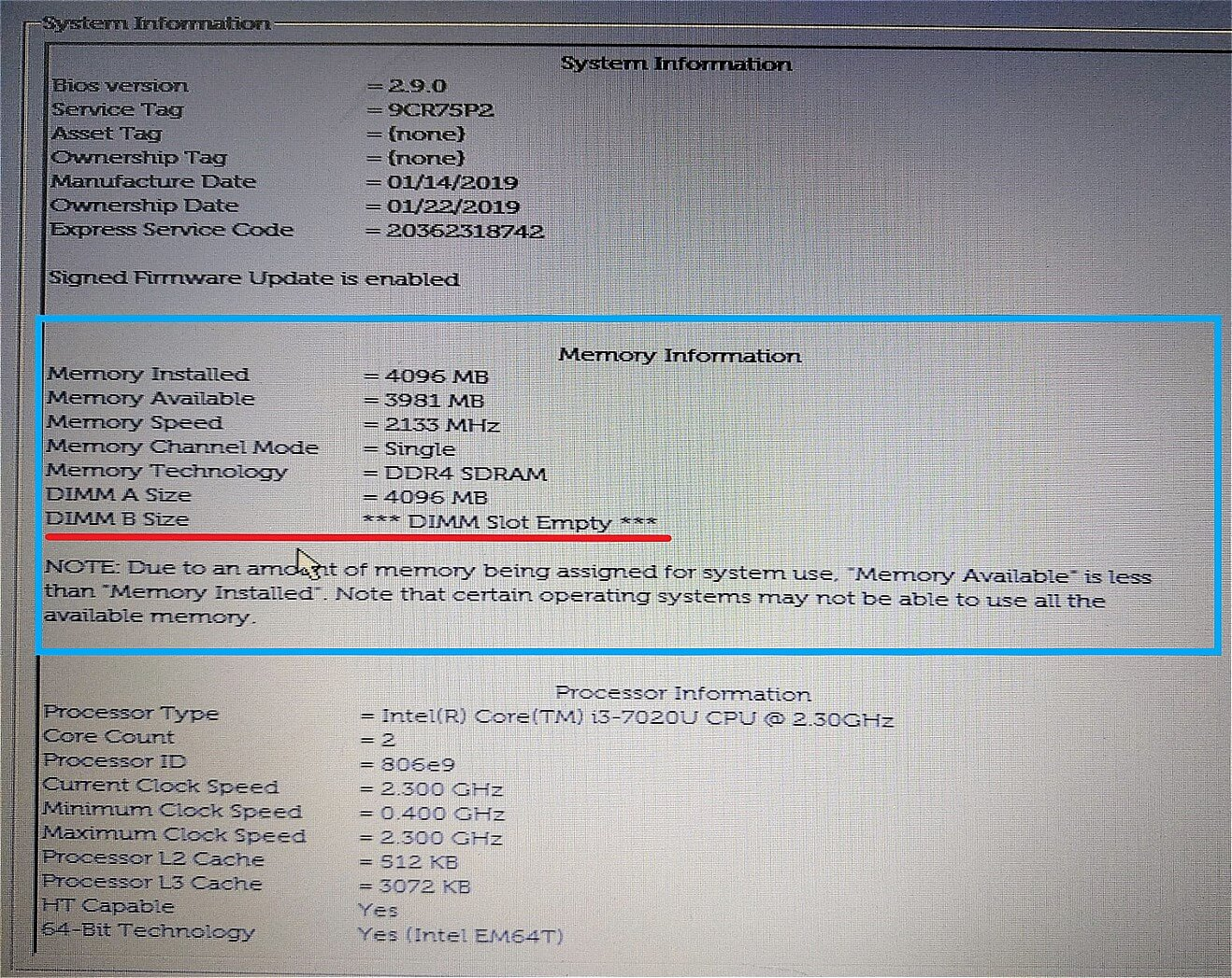 DELLノートPC BIOS画面(メモリー詳細画面拡大)